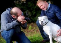 Photographer Josh Coulson, Milly, and Milly's owner Dominic Stroud #dogtogUK #milly2015.  Milly won the tittle of The Dog Photographer Face of 2015, beating nearly 300 entries.