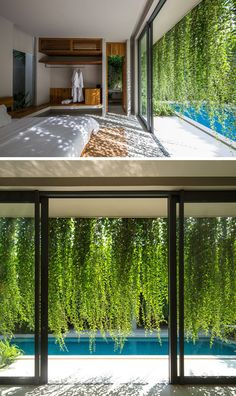 Gardens Create A Private Oasis For These Modern Villas Landscaping Ideas - Hanging gardens provide a lush environment and privacy for interior rooms.Landscaping Ideas - Hanging gardens provide a lush environment and privacy for interior rooms. Garden Architecture, Architecture Design, Outdoor Spaces, Outdoor Living, Zen Garden Design, Terrace Design, Landscape Design, Tropical Garden Design, Tropical Houses