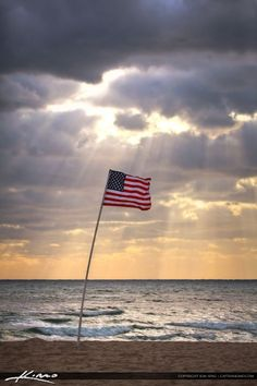 United States Flag at Beach in Pompano During Sunrise I Love America, God Bless America, America America, A Lovely Journey, Beach Flags, American Flag Photos, Capture The Flag, Land Of The Free, Beautiful Ocean