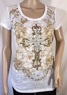 NWT Miss Me Lace Shoulder Embellished Cross Tee Size S, M, L #MissMe #EmbellishedTee