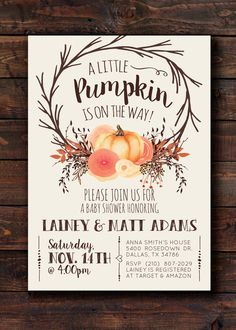 A little Pumpkin is on the way! Woodland Fall Autumn Pumpkin Rustic Baby Shower Invitation Printable, Boho Chic…