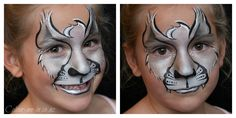 Silver Wolf, face painted by Stephanie, www.colour-me-in.co.nz. Using my favourite go to Superstar Silver (also branded as FAB) with TAG Pearl White through the forehead and nose bridge. This same design transfers well into an Alsation with gold and bronze.