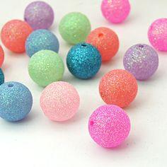 Opake Acrylperlen, mit Schein bunten Pulvern, Runde, Mischfarbe, 24 mm, Loch: 3 mm; über 68 Stück / 500 g (MACR-1144-15-M)