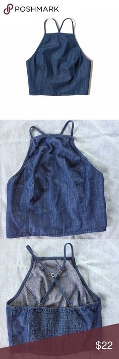 Hollister Chambray Halter Top This top is in excellent condition. It has cross straps at the back and is super comfy. Hollister Tops Crop Tops