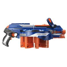 It's time to take your N-Strike battling to the next level with the Hail-Fire blaster! The Hail-Fire blaster's unique rotating dart rack gives it the highest capacity of any Nerf blaster. It comes with 4 Quick Reload clips and 24 Elite Darts, but it can hold up to 4 more Quick Reload clips and up to 144 darts! The blaster's acceleration trigger powers up the motor for semi-auto blasting that lets you unleash a storm of Elite Darts at targets up to 75 feet away! The Quick Reload clips work…