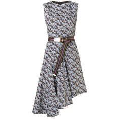 Marni floral print asymmetric dress (145.485 RUB) ❤ liked on Polyvore featuring dresses, blue, sleeveless cotton dress, asymmetrical dress, flower print dress, short blue dresses and short sleeveless dress