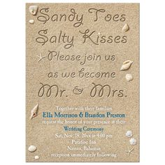 Sandy Toes Salty Kisses Soon to be Mr. and Mrs. Wedding Invitation on beach sand background