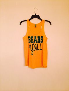 "Show your #Baylor and Texan pride with this green and gold ""Bears Y'all"" glitter tank. #SicEm"