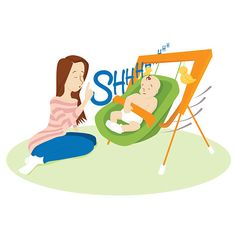 Baby Instructional Illustrations - Shhh Illustrated by Heather Martinez Creative Designs