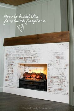 This fireplace looks so real - yet it was so simple to build! Here& how to build a faux fireplace in a corner (with German schmear brick). Also we built a faux reclaimed wood mantle. A corner fireplace can look great and here& how. Brick Fireplace, Home Improvement Projects, Build A Fireplace, Diy Bedroom Decor, Affordable Home Decor, Home Decor, Faux Brick Panels, Fireplace, Faux Fireplace