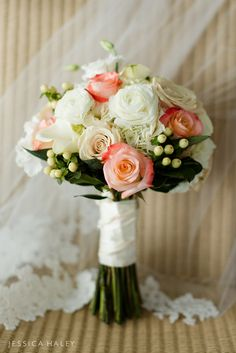 Ivory and Coral Wedding Bouquet at Shenorock Shore Club in Rye, New York by Jessica Haley