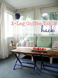 X-Leg Coffee Table Hack - I've always loved the look of these luggage racks, but never had a use for them. Why didn't I think of this?