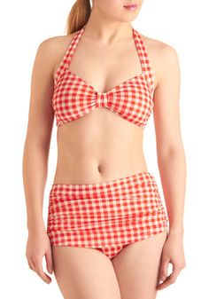 Loving this vintage-style swimsuit. It's like wearing your picnic blanket! All it needs is a floppy, straw hat and some retro, white sunglasses....