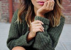 Green oversized knit