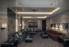 modern living room apartment with brown nuance