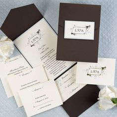 This elegant mocha pocket features a sky backer card, ecru invitation card with a foliage design in chocolate and mist imprint colors. Enclosure cards are available to complete this ensemble.