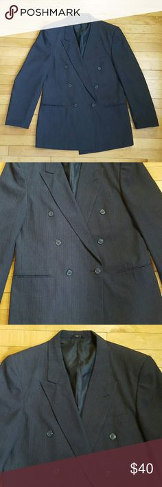 MENS DARK GRAY SUIT JACKET Dark gray suit jacket with blue and tan pinstripe detail (shown in close up photo). Tag with brand and size seems to have been snipped out at some point bur the quality is great. Pretty certain it's an XL jacket. Fits like a 44 REG. Suits & Blazers