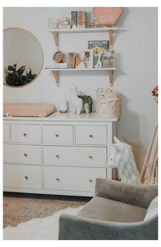 Nursery Dresser, Nursery Shelves, Bedroom Dressers, Nursery Wall Decor, Nursery Room, Girl Nursery, Girl Room, Nursery Ideas, Project Nursery