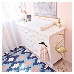 The sweetest little flamingo nursery. All we're waiting on is baby girl! Image by @richelle_kimberley