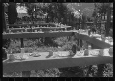 Table in picnic grove set for St. Thomas church supper near Bardstown, Kentucky | Library of Congress