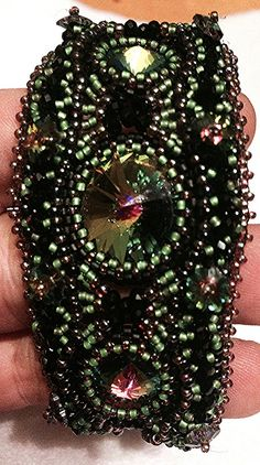 Freeform rivoli and peyote bracelet