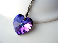 purple jewelry | Purple Swarovski Heart Necklace Oxidized Sterling Silver Crystal ...