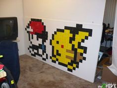 Pixel Art Post-It Notes. *Gasp* With Post-It notes?! What a nifty idea! When I get a house of my own, I'll just PAINT pixel gaming art right on the walls. =P