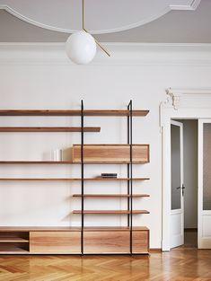 Wall Shelving Units, Shelving Design, Shelf Design, Shelves, Storage Units, Built In Tv Wall Unit, Fancy Living Rooms, New Home Wishes, Vintage Furniture Design
