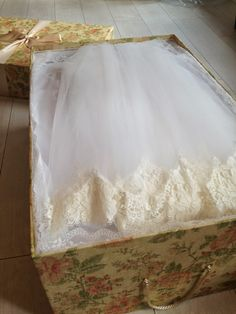 Preserve your wedding dress forever in a Wedding Dress Box. To have your dress expertly packed and cleaned, and even collected and delivered from your house, visit www.heirlumia.com