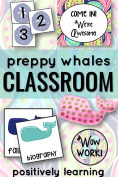 """Fresh and Preppy! Everything navy blue, bright pink, and green """"one stop, set up"""" is included to brighten up a classroom or resource room!"""