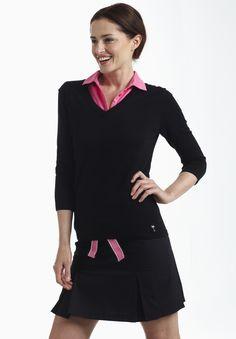 Ladies Golf Fashion! Check out our Golftini Black Pleated Skort for $120.00 Golftini: Chic Women's Golf Apparel. www.golftiniwear.com