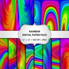 SALE Rainbow Digital Paper Rainbow Paper Abstract by KlampDesign