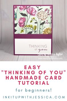 """Learn how to make this easy """"thinking of you"""" card with this fun card making tutorial!    #handmadecards #papercrafts #tutorial Card Making Ideas For Beginners, Card Making Tutorials, Card Making Techniques, Handmade Cards For Friends, Birthday Cards For Friends, Easy Handmade Cards, Handmade Soaps, Handmade Rugs, Handmade Crafts"""
