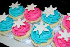 Pink and Aqua Snowflake Topped Cupcakes for a Winter Onederland Birthday Party- ideal cupcakes! Winter Birthday Parties, Frozen Birthday Party, Frozen Party, Ice Skating Party, Snowflake Party, Winter Wonderland Birthday, Yummy Cupcakes, Blue Cupcakes, Sweet 16 Parties