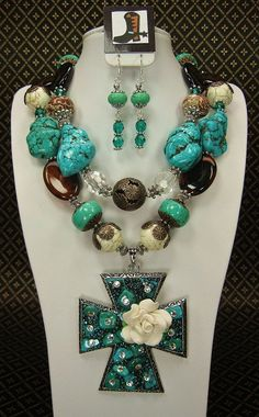 TURQUOISE / WHITE / BROWN Chunky Western by CayaCowgirlCreations, $72.50