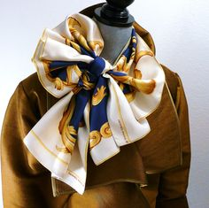 Authentic Vintage Hermes Silk Echarpe Opera Scarf Crown Blue and White Rare