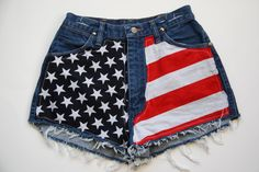My daughter has recently taken an interest in the hipster clothing (oh how I wish I would have saved my clothes from the 80's) so we are making our very own flag hipster shorts for much less (these are $55) then and with her own style added.