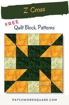 Beginner Quilt Patterns Free, Quilt Square Patterns, Patchwork Patterns, Quilting For Beginners, Pattern Blocks, Half Square Triangle Quilts, Square Quilt, Cross Quilt, Patch Design