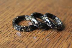 Charcoal and Gold Flake Resin Ring Black Ring Resin Rings Black and Gold Statement Ring Resin Ring Gift for Her Valentines Gift Valentine