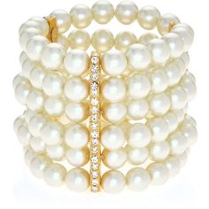 Kenneth Jay Lane 6 Row Pearl Bracelet (2 505 ZAR) ❤ liked on Polyvore featuring jewelry, bracelets, gold, adjustable bangle, pearl jewellery, cuff jewelry, kenneth jay lane bangles and kenneth jay lane