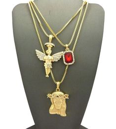 MENS HIP HOP ICED RUBY, ANGEL & JESUS FACE PENDANT w/ BOX CHAIN NECKLACE SET 28G   Jewelry & Watches, Men's Jewelry, Chains, Necklaces & Pendants   eBay!