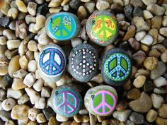 Peace Sign Symbol Painted Rock Art Painted by PonderingPebbles