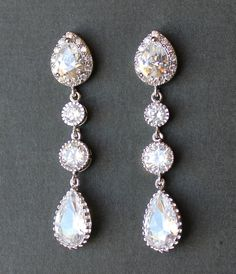Crystal Bridal Chandelier Earrings Art Deco Bridal by JamJewels1