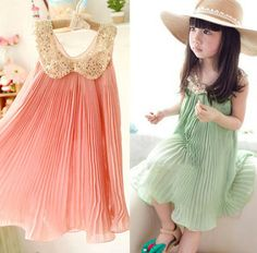 Little Girl Dresses Coral and Mint   Little Ava Gatsby Chiffon Dress-coral, pink, green, mint, gold collar ...