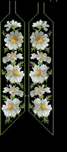 Loom beaded daisy bracelet Loom Bracelet Patterns, Beaded Necklace Patterns, Bead Loom Bracelets, Bead Loom Patterns, Beading Patterns, Beaded Bookmarks, Cross Stitch Bookmarks, Cross Stitch Rose, Cross Stitch Flowers