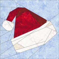 "Christmas Hat 10"" (25cm) Festive Season Blocks quiltartdesigns.blogspot.com"