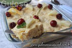 Este Pavê de Abacaxi Sem Glúten é delicioso, simples e é uma ótima opção de sobremesa!  #Receita aqui: http://www.gulosoesaudavel.com.br/2017/01/13/pave-de-abacaxi-sem-gluten/