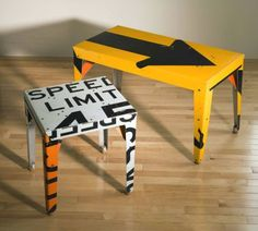 Furniture from old road signs..would be cute in either Brigham's or Wyatt's rooms since they are all about cars