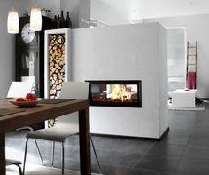 Doorkijkhaard als ruimteverdeler tussen keuken en woonkamer - Brunner