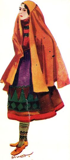 Portuguese Lady, Vintage Print
